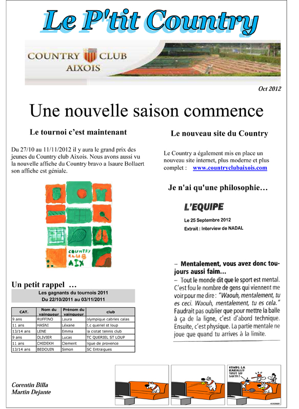 JOURNAL DU COUNTRY Octobre